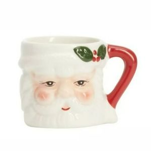 Pottery Barn Ceramic Christmas Santa Shot Glasses